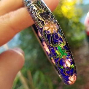Vintage Chinese Plique-a-jour enamel bracelet blue